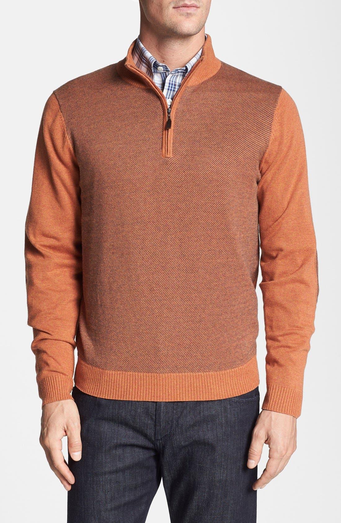 Main Image - Robert Talbott Jacquard Quarter Zip Sweater