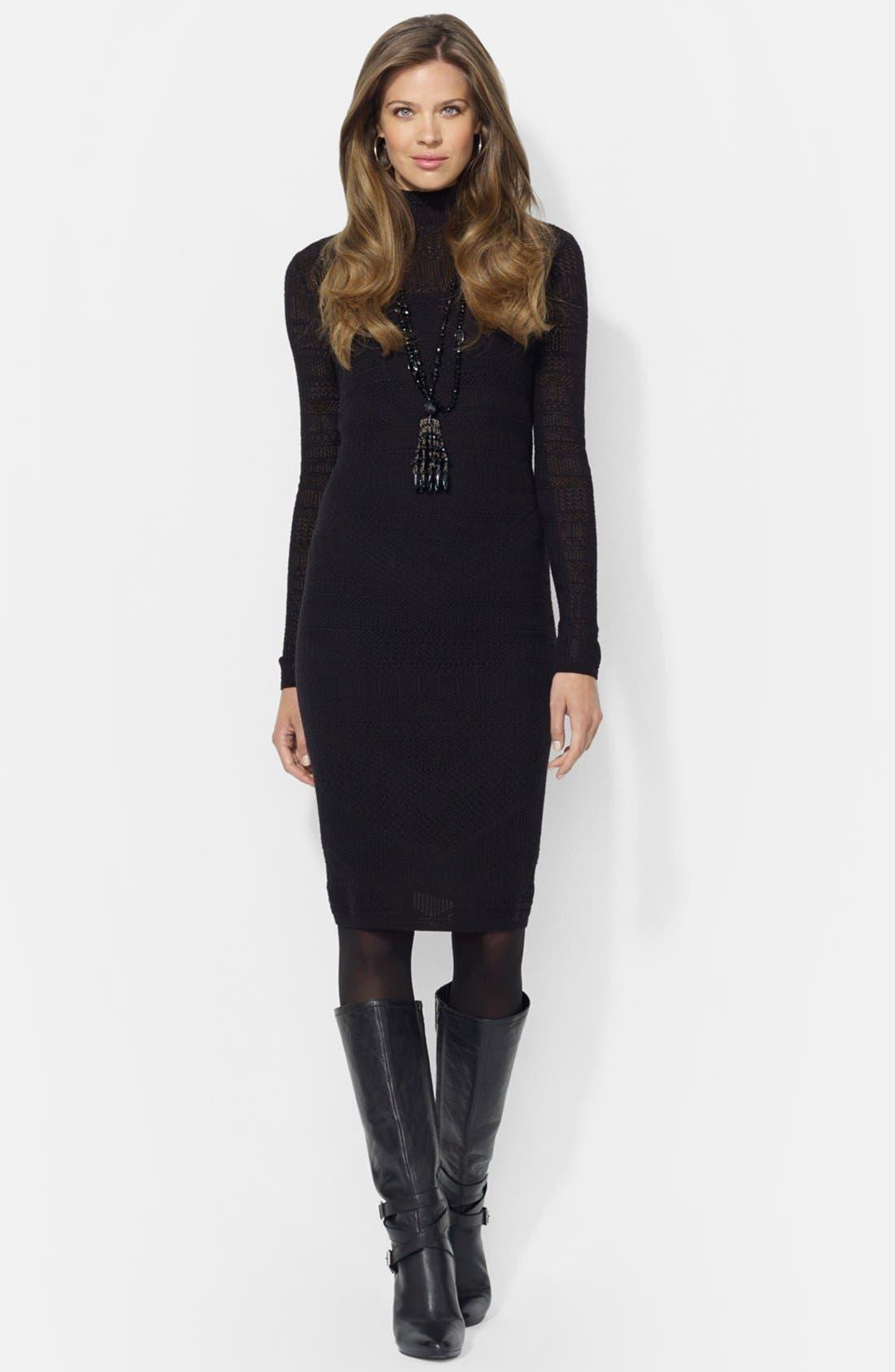 Main Image - Lauren Ralph Lauren Mock Neck Pointelle Sweater Dress (Petite)