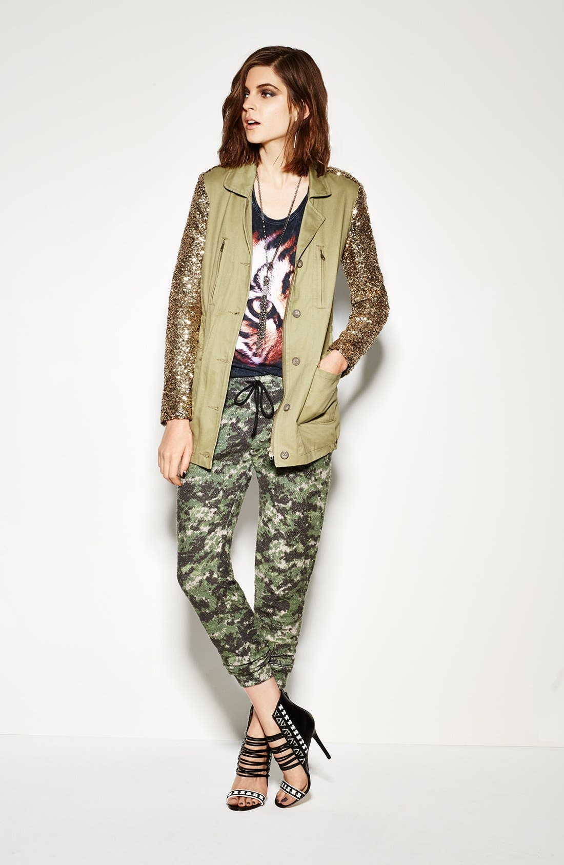 Alternate Image 4  - Faubourg du Temple Sequin Sleeve Twill Jacket