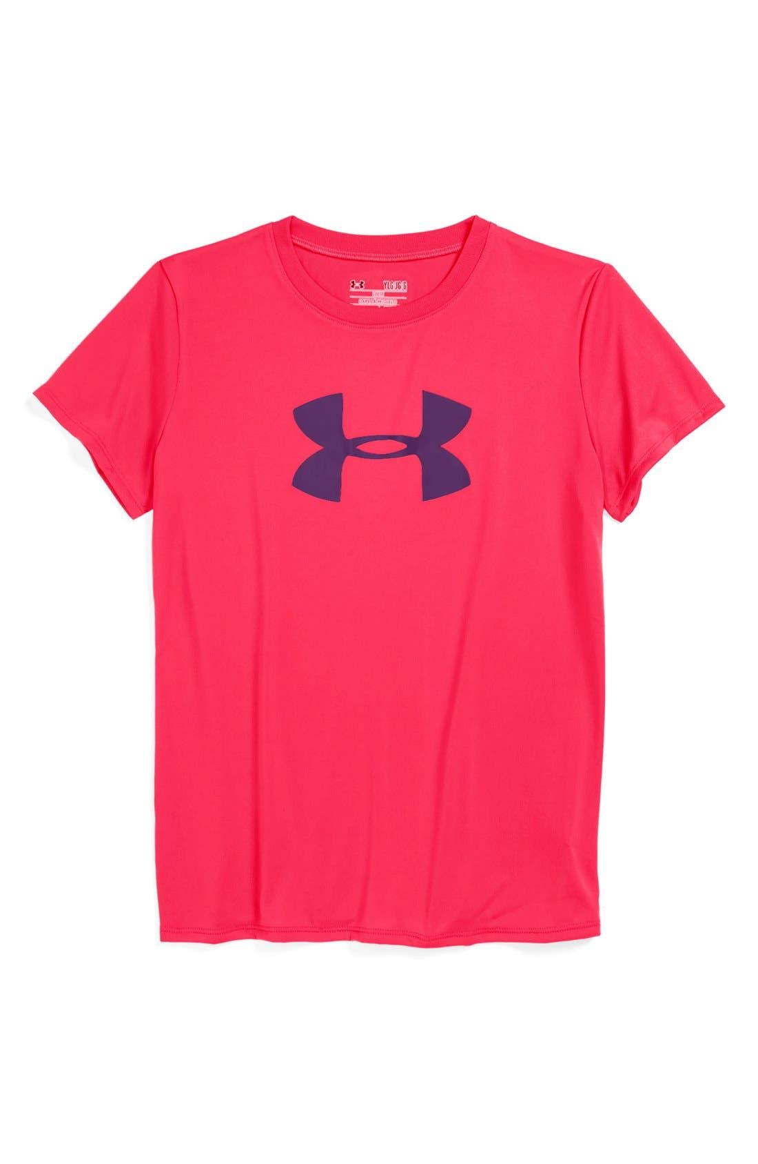 Main Image - Under Armour Logo HeatGear® Tee (Big Girls)