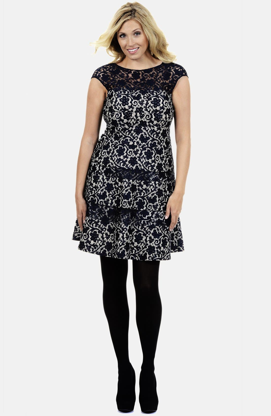 Alternate Image 1 Selected - Kay Unger Lace Fit & Flare Dress (Plus Size)