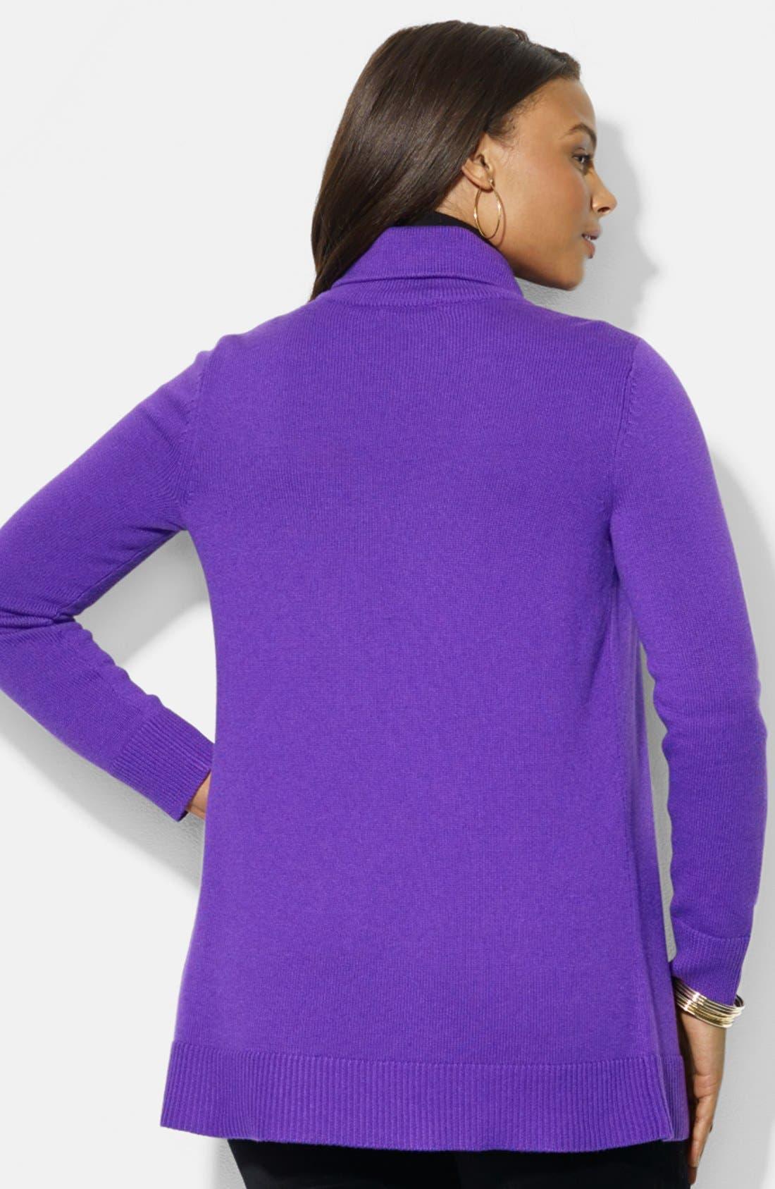 Alternate Image 2  - Lauren Ralph Lauren Splay Collar Cardigan (Plus Size)