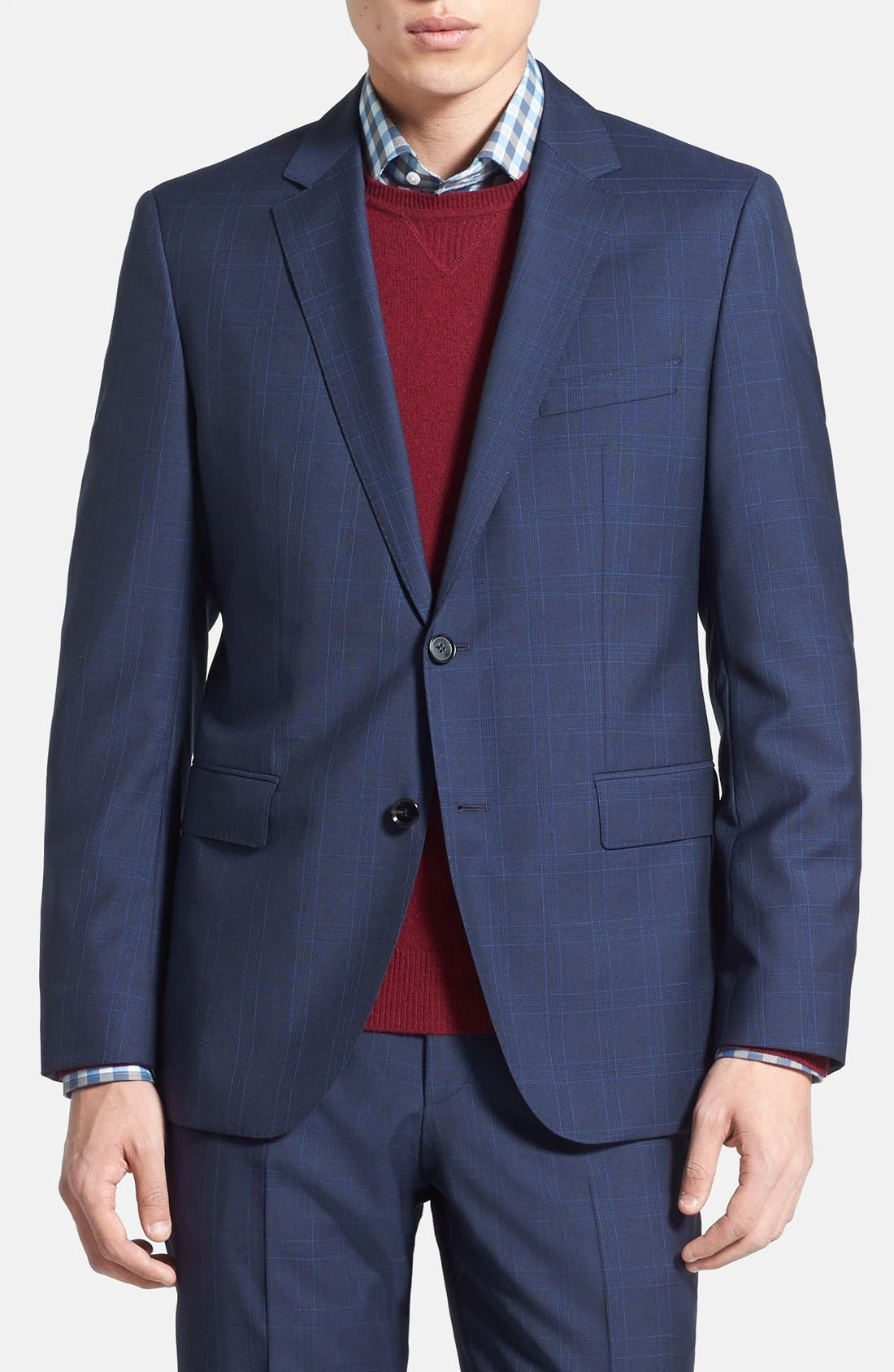 Alternate Image 3  - BOSS HUGO BOSS 'James/Sharp' Trim Fit Windowpane Suit