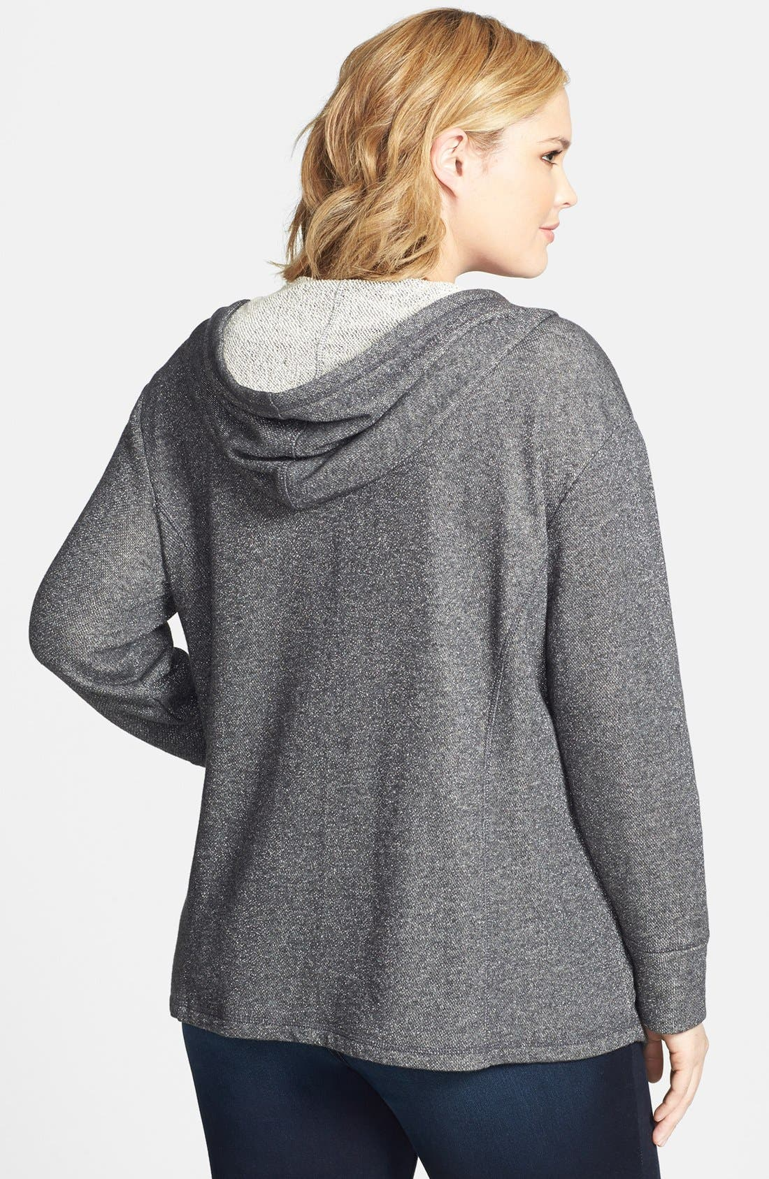 Alternate Image 2  - Sejour Drape Front Metallic French Terry Hoodie (Plus Size)