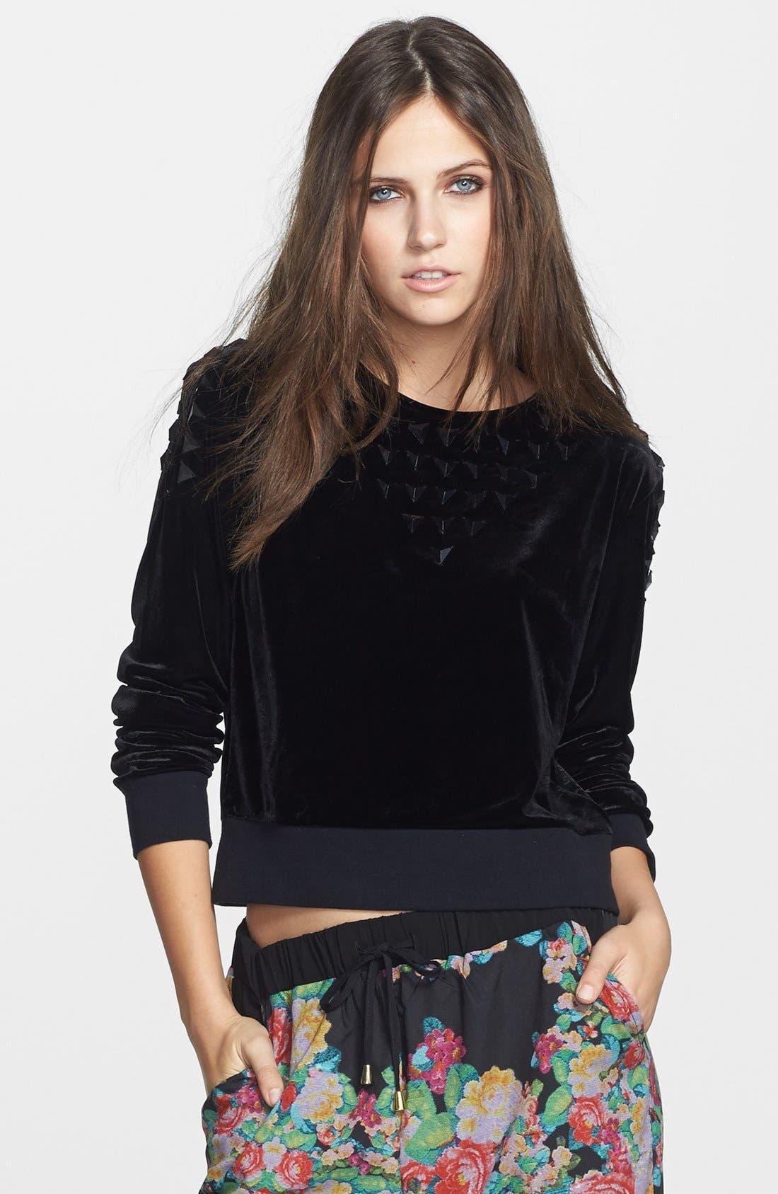 Main Image - Leith Studded Velour Sweatshirt
