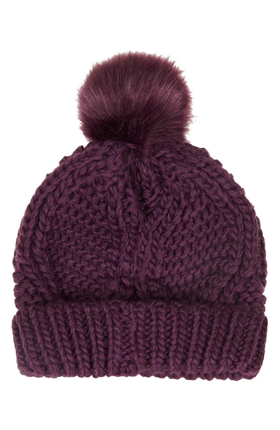 Main Image - Topshop Cable Knit Pompom Beanie