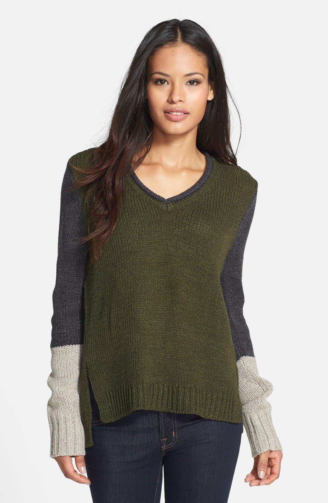 Main Image - Curio Colorblock V-Neck Sweater