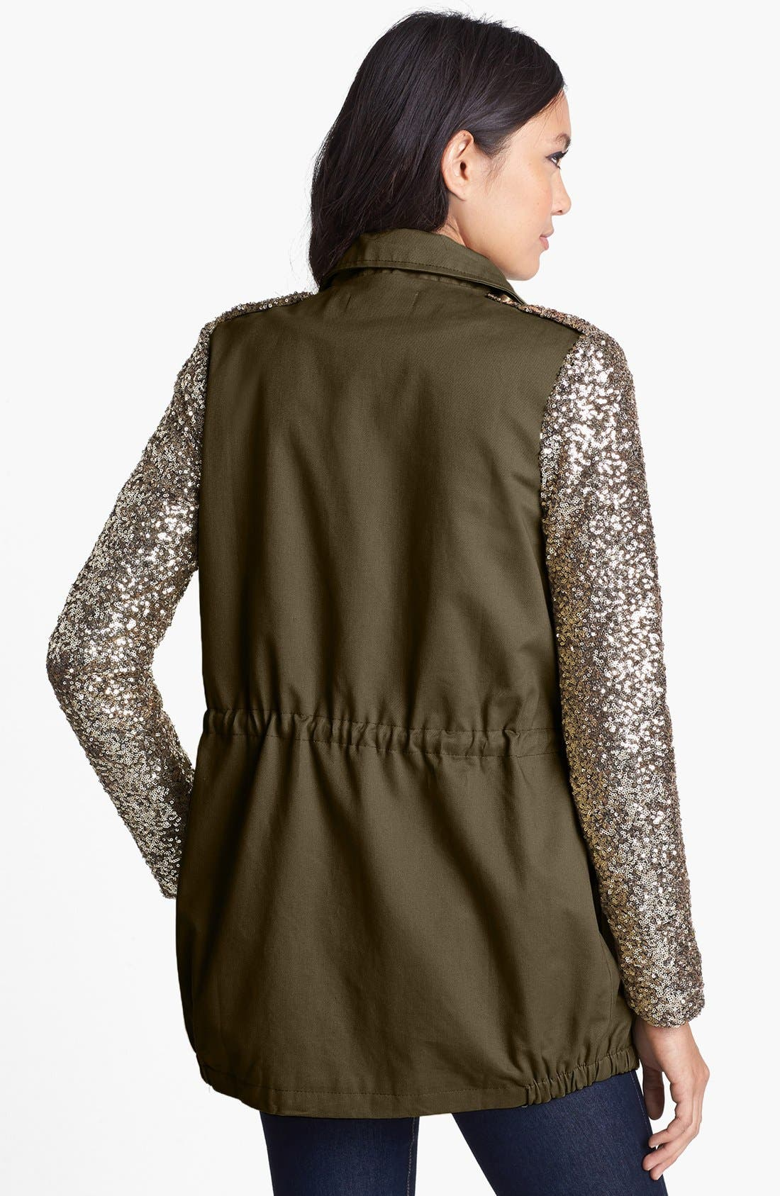 Alternate Image 2  - Faubourg du Temple Sequin Sleeve Twill Jacket
