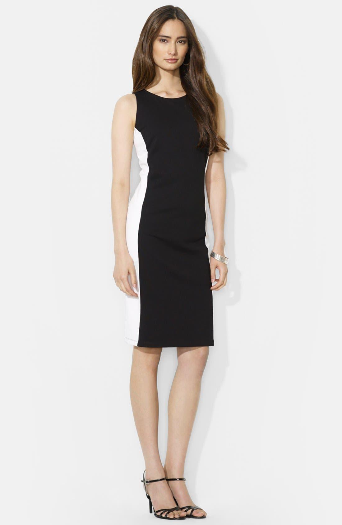 Main Image - Lauren Ralph Lauren Colorblock Sleeveless Ponte Dress (Petite)
