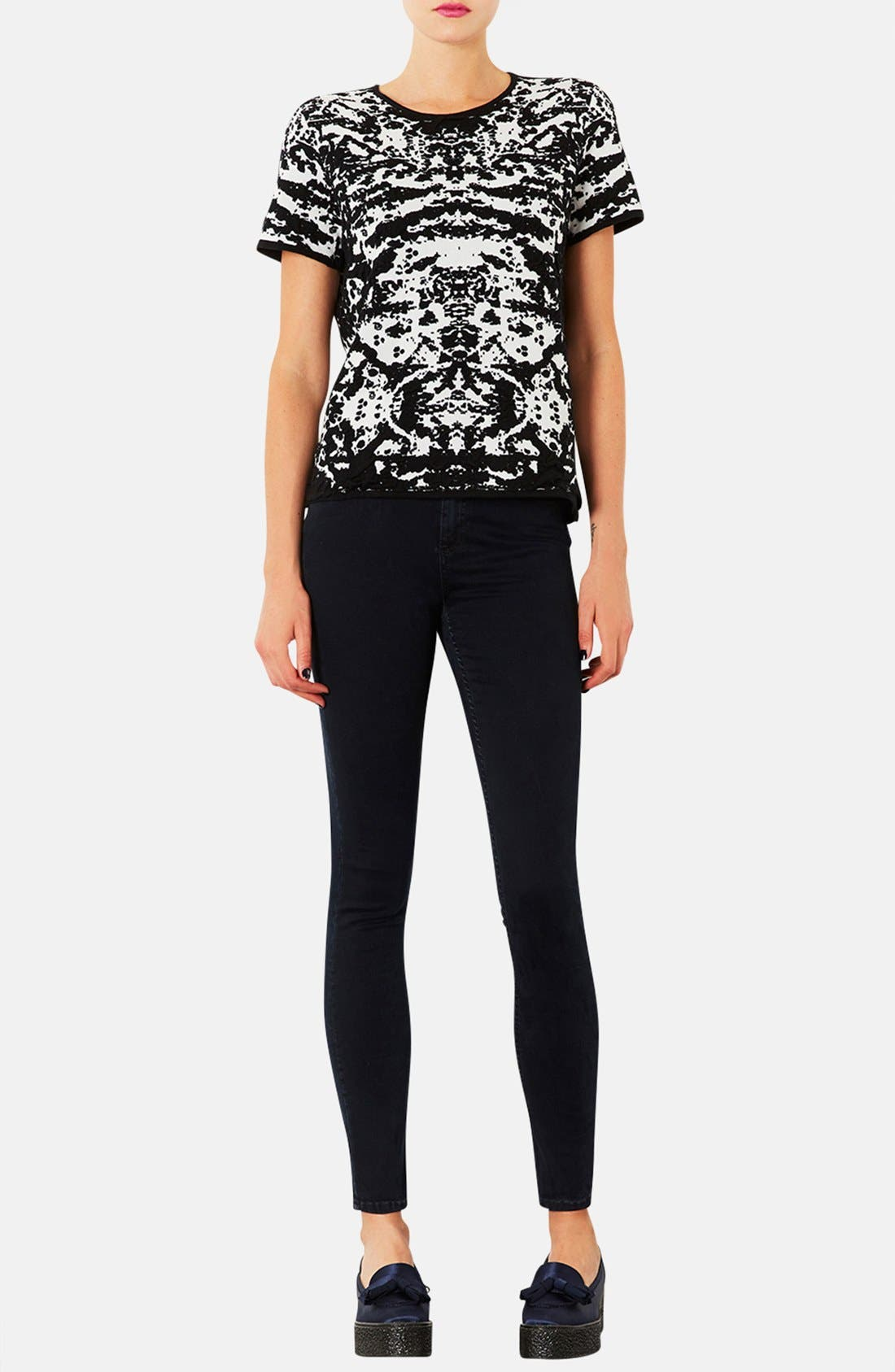 Alternate Image 4  - Topshop Moto 'Jamie' High Rise Crop Skinny Jeans (Navy Blue)