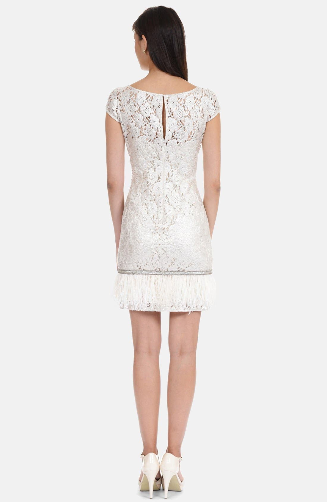 Alternate Image 2  - Kay Unger Feather Hem Metallic Lace Sheath Dress (Plus Size)