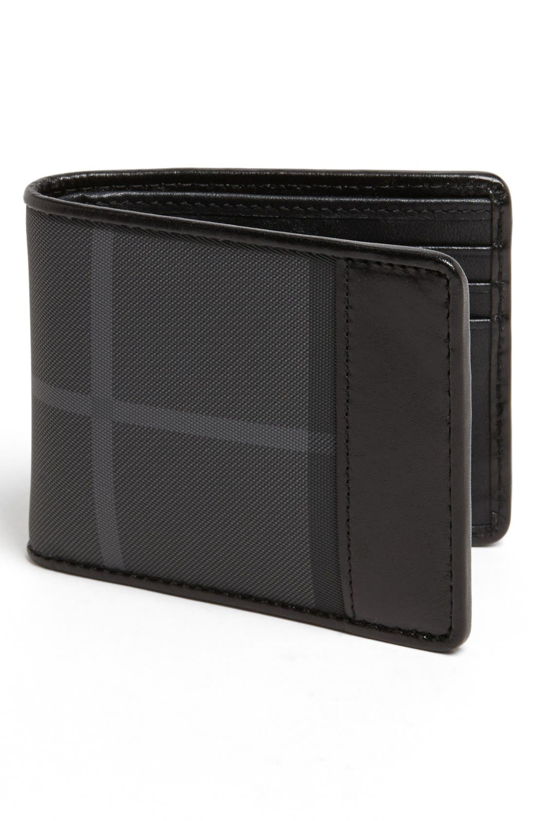 Alternate Image 1 Selected - Burberry Check Small Bifold Wallet