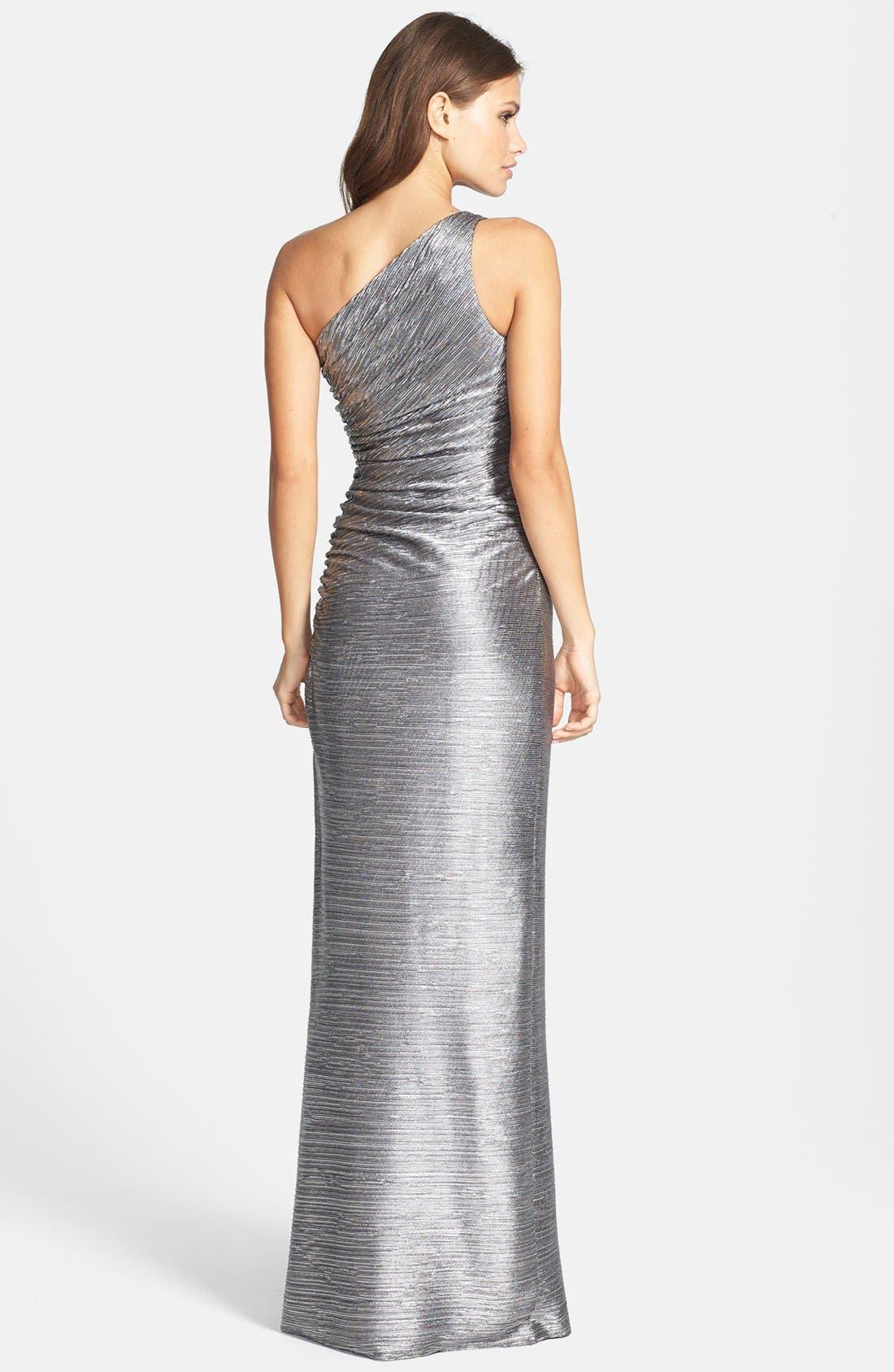 Alternate Image 2  - Laundry by Shelli Segal Embellished Metallic Foil One-Shoulder Gown