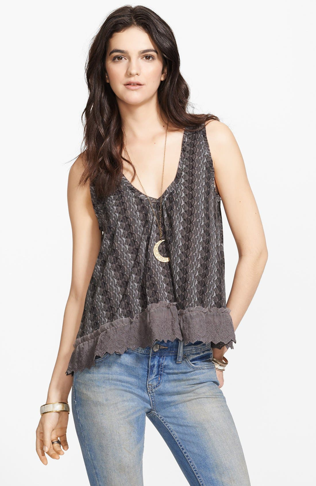 Alternate Image 1 Selected - Free People 'Flutter Fly' Lace Trim Chiffon Top