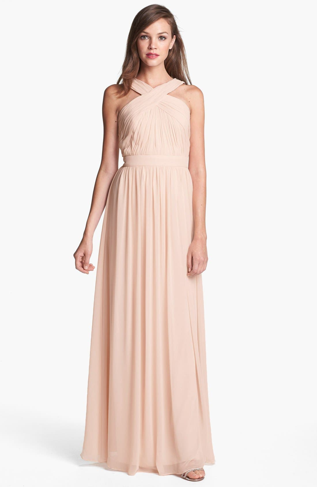 Alternate Image 1 Selected - Monique Lhuillier Bridesmaids Crisscross Chiffon Gown (Nordstrom Exclusive)