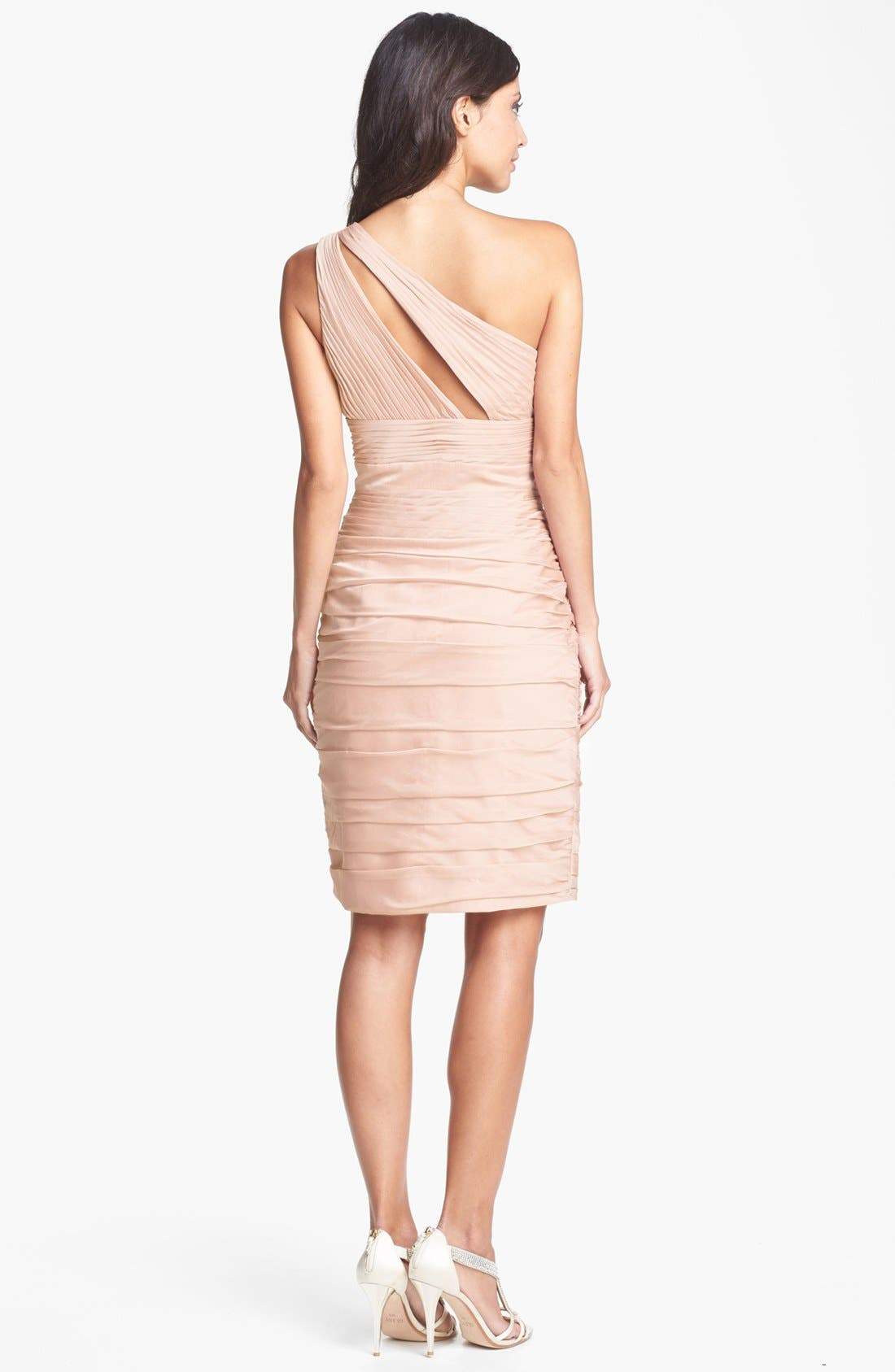 Alternate Image 2  - ML Monique Lhuillier Bridesmaids Ruched One-Shoulder Sheath Dress (Nordstrom Exclusive)