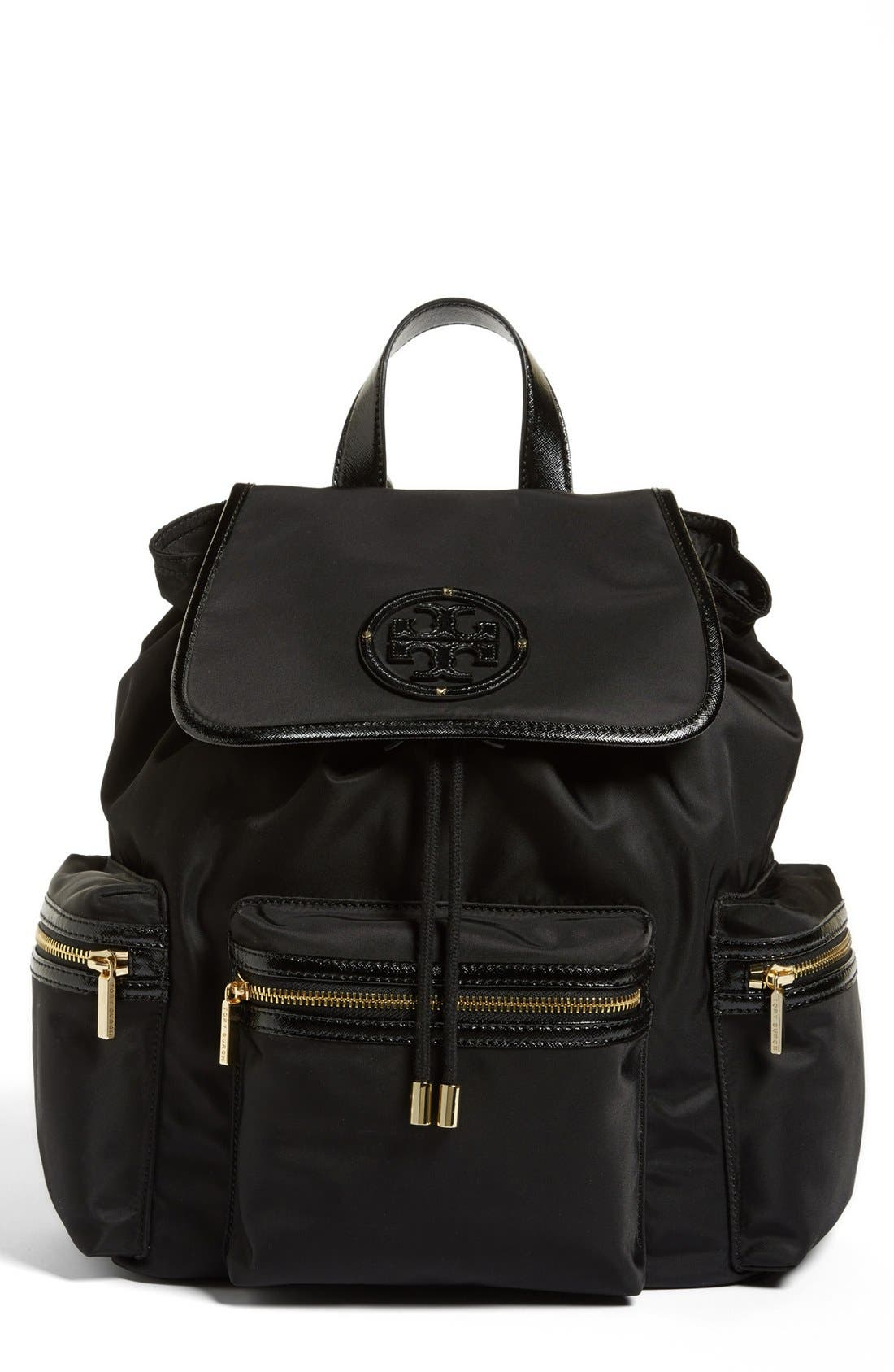Alternate Image 1 Selected - Tory Burch 'Stacked T Logo' Nylon Backpack