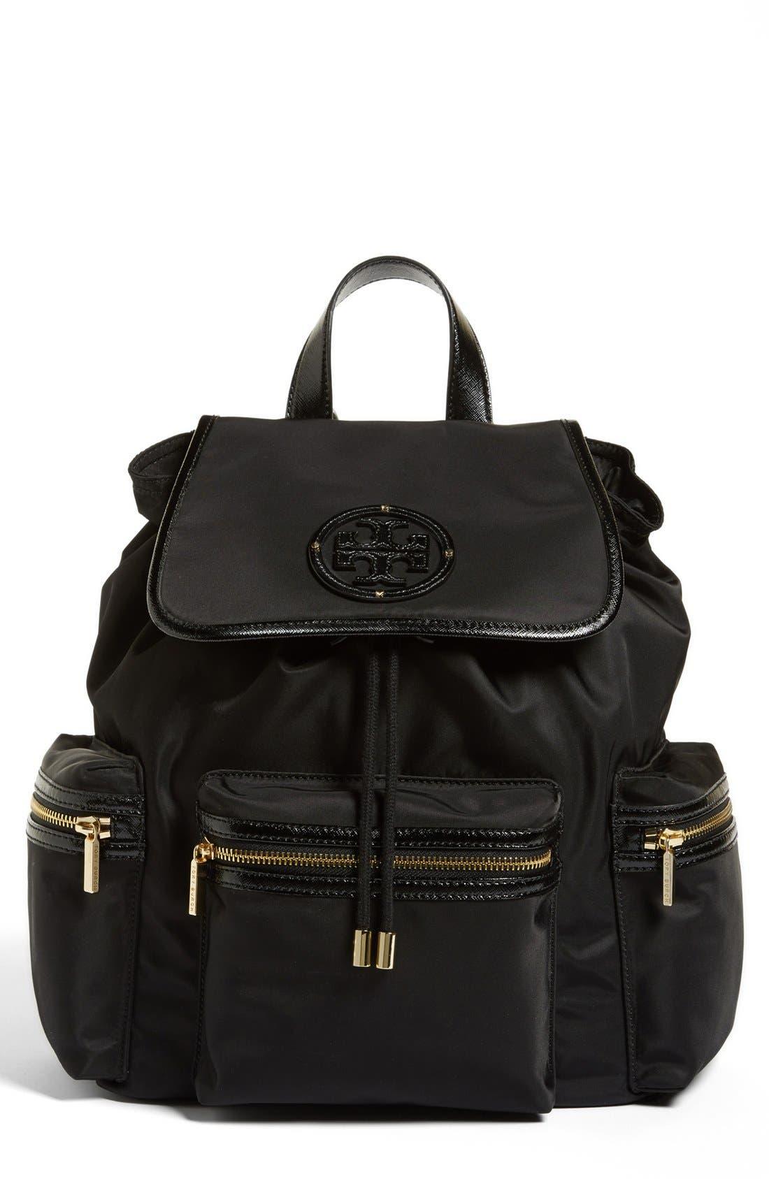 Main Image - Tory Burch 'Stacked T Logo' Nylon Backpack