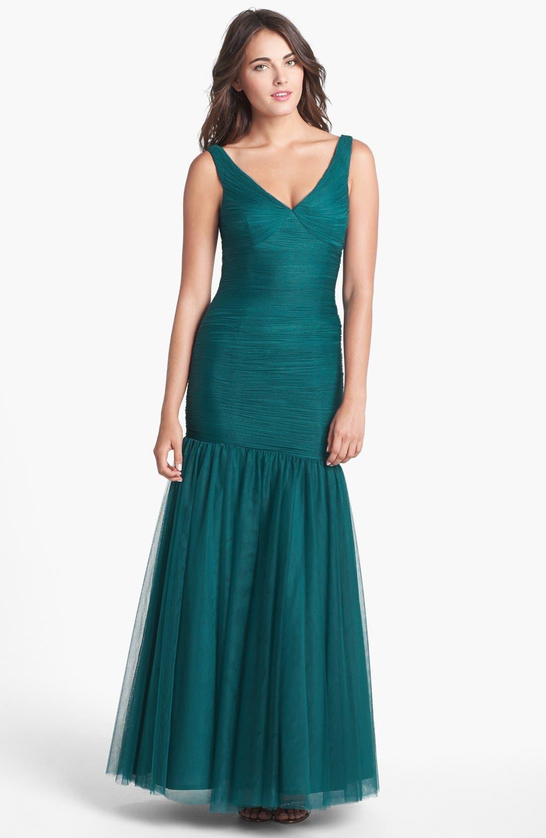 Alternate Image 1 Selected - Monique Lhuillier Bridesmaids V-Neck Shirred Tulle Trumpet Dress