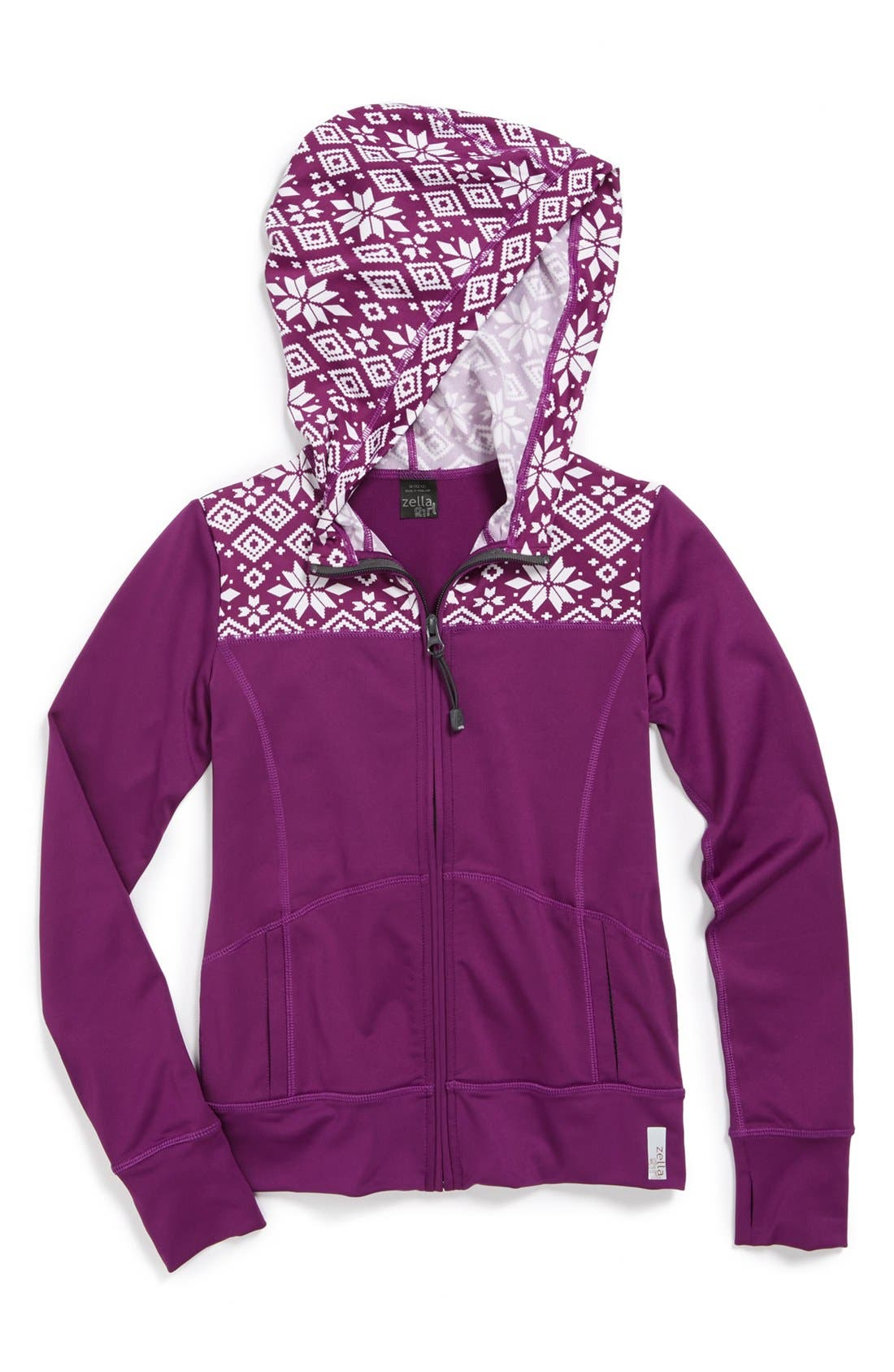 Alternate Image 1 Selected - Zella 'Routine' Print Hoodie (Little Girls & Big Girls)