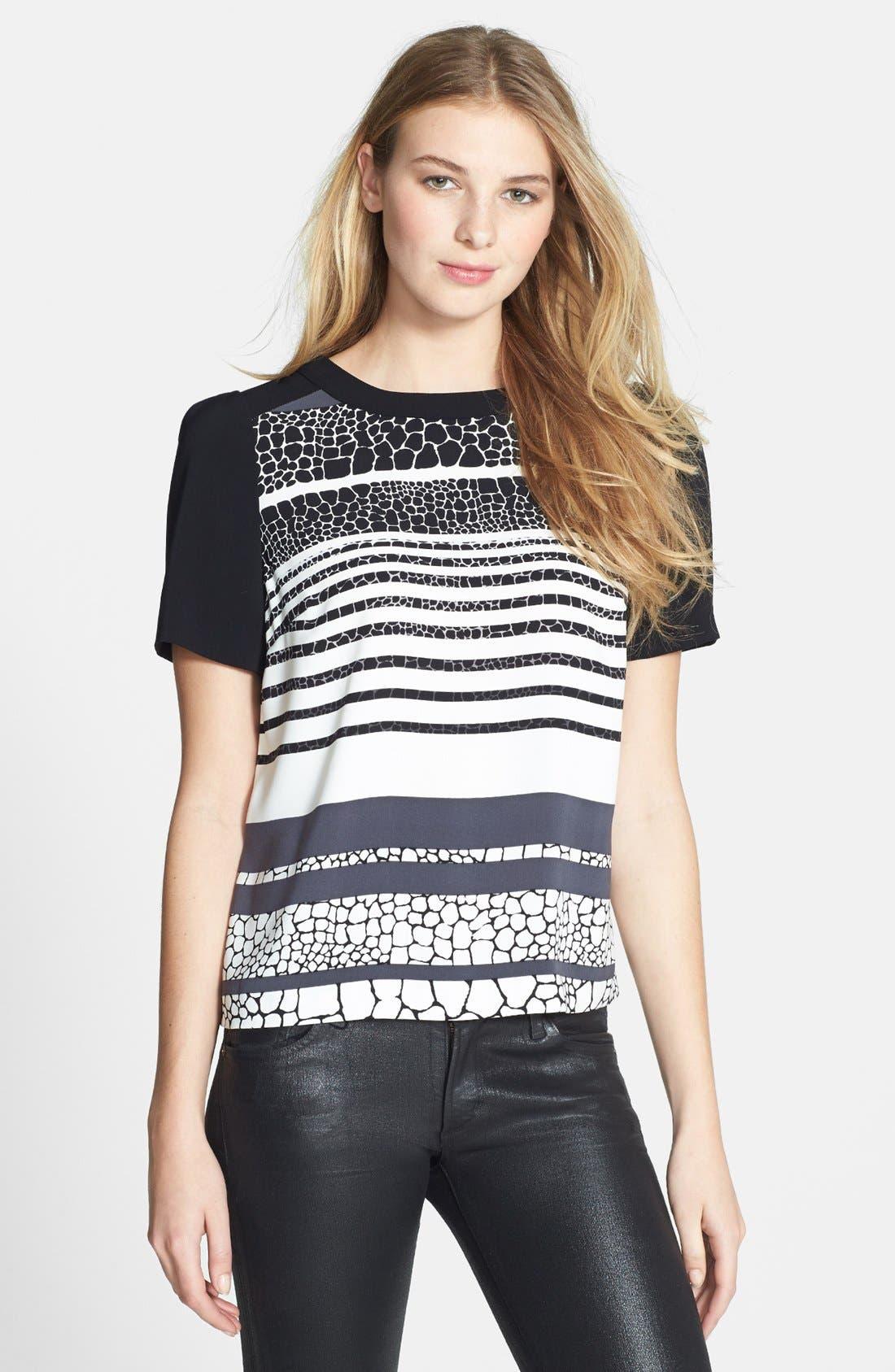 Main Image - Halogen® Colorblock Short Sleeve Blouse