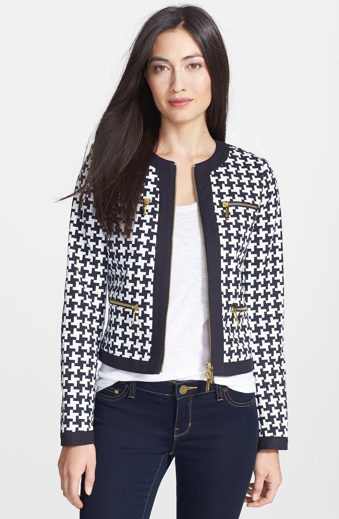 Alternate Image 1 Selected - MICHAEL Michael Kors Print Front Zip Jacket (Regular & Petite)