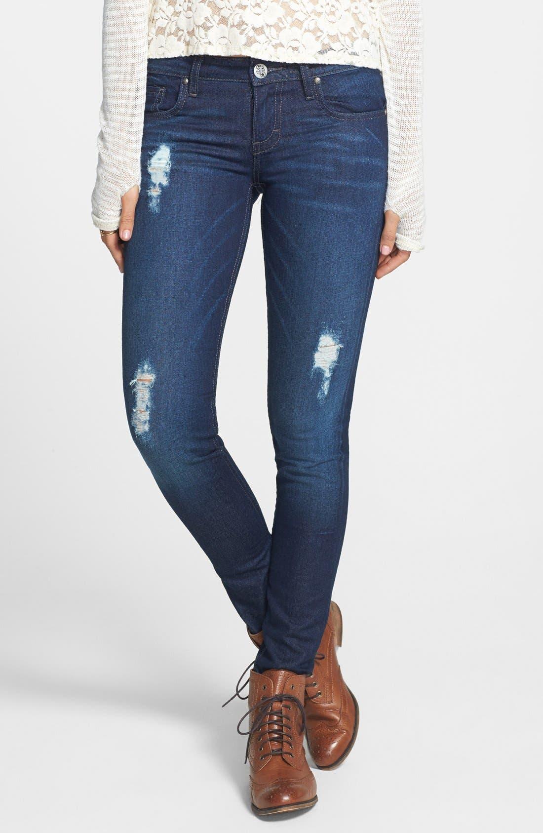 Alternate Image 1 Selected - STS Blue Destroyed Skinny Jeans (Dark) (Juniors)
