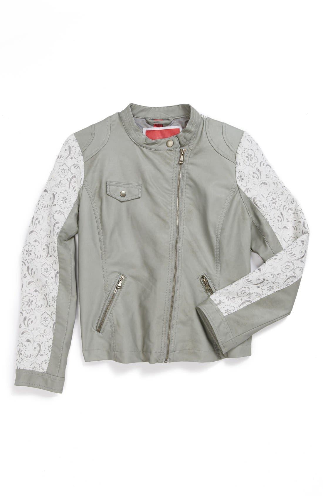 Alternate Image 1 Selected - Collection B Lace Sleeve Moto Jacket (Big Girls)