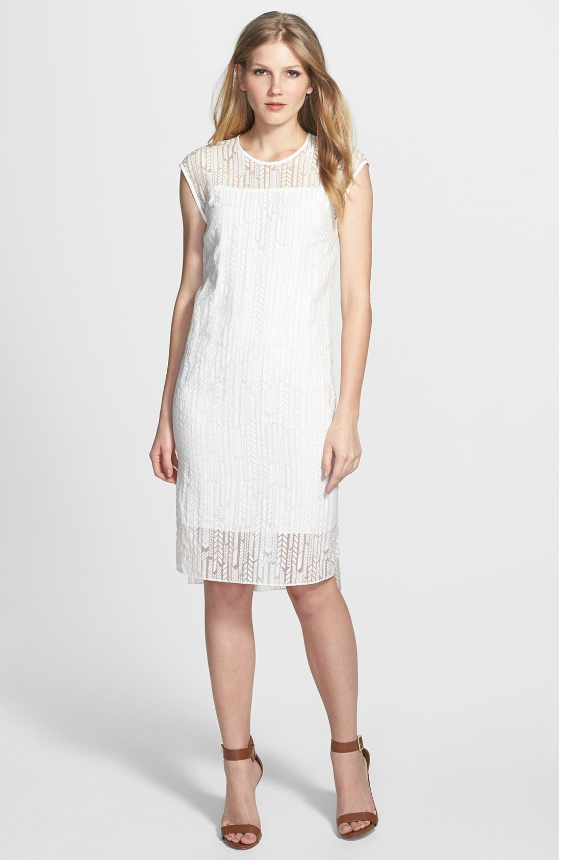 Main Image - Vince Camuto Herringbone Burnout Shift Dress
