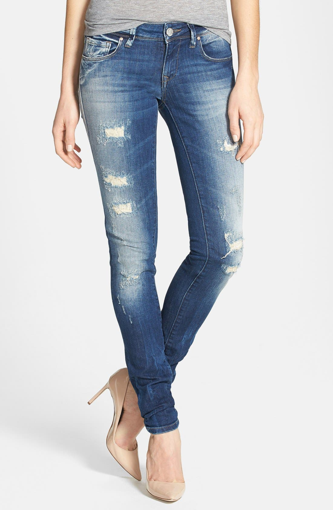 Alternate Image 1 Selected - Mavi Jeans 'Alexa Partly Cloudy' Distressed Stretch Skinny Jeans (Artist Vintage)
