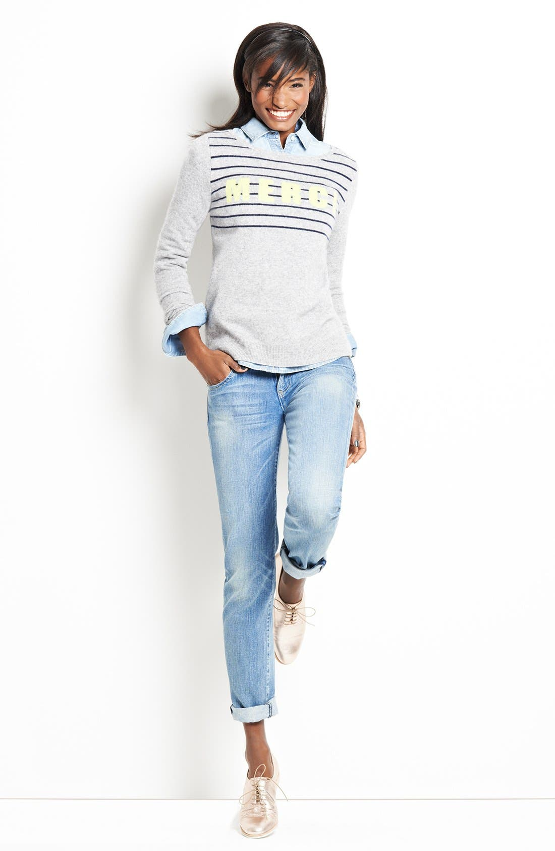 Alternate Image 1 Selected - Halogen® Intarsia Sweater & KUT from the Kloth Boyfriend Jeans