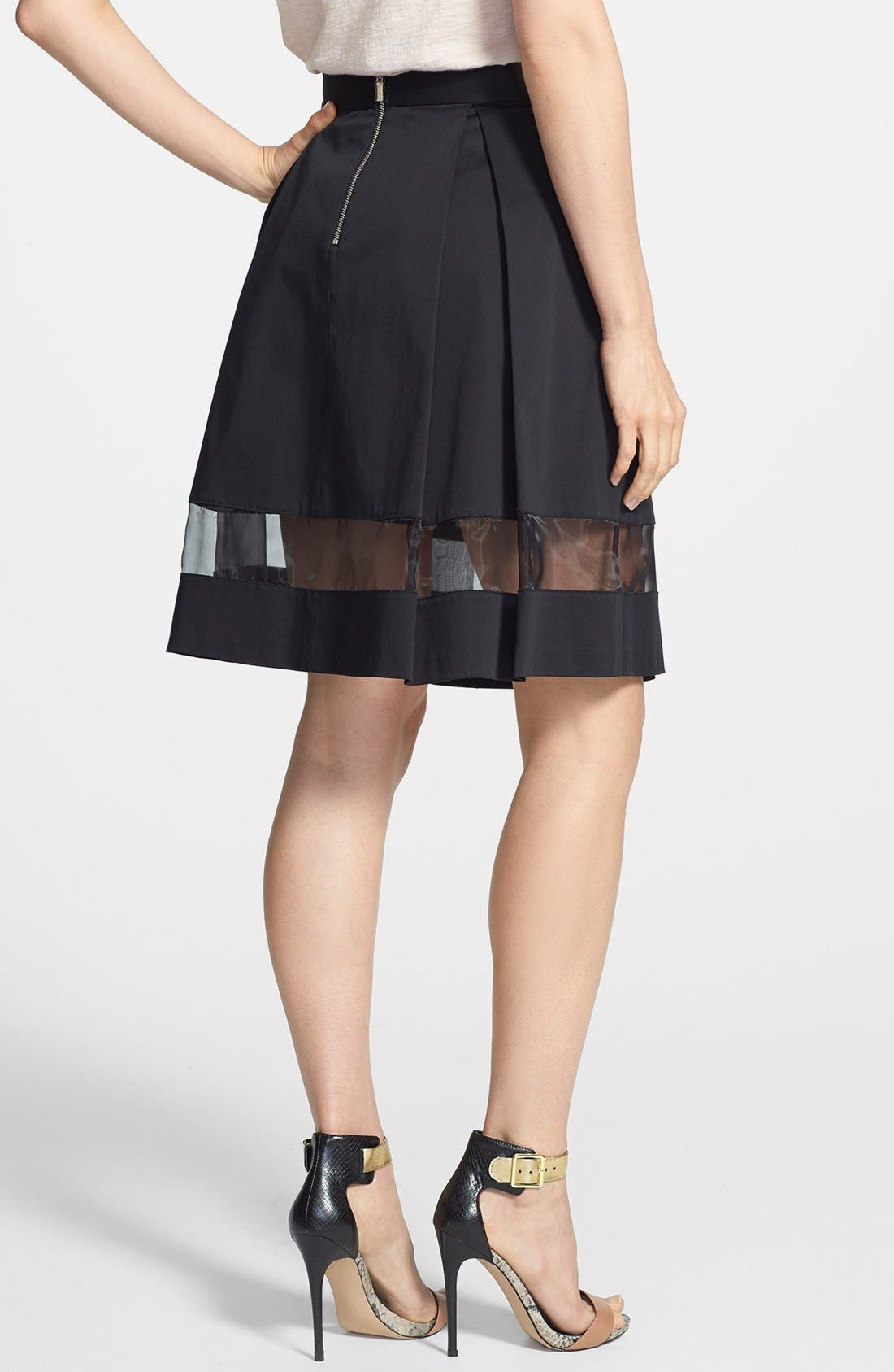 Alternate Image 2  - Vince Camuto Sheer Inset Pleated Skirt