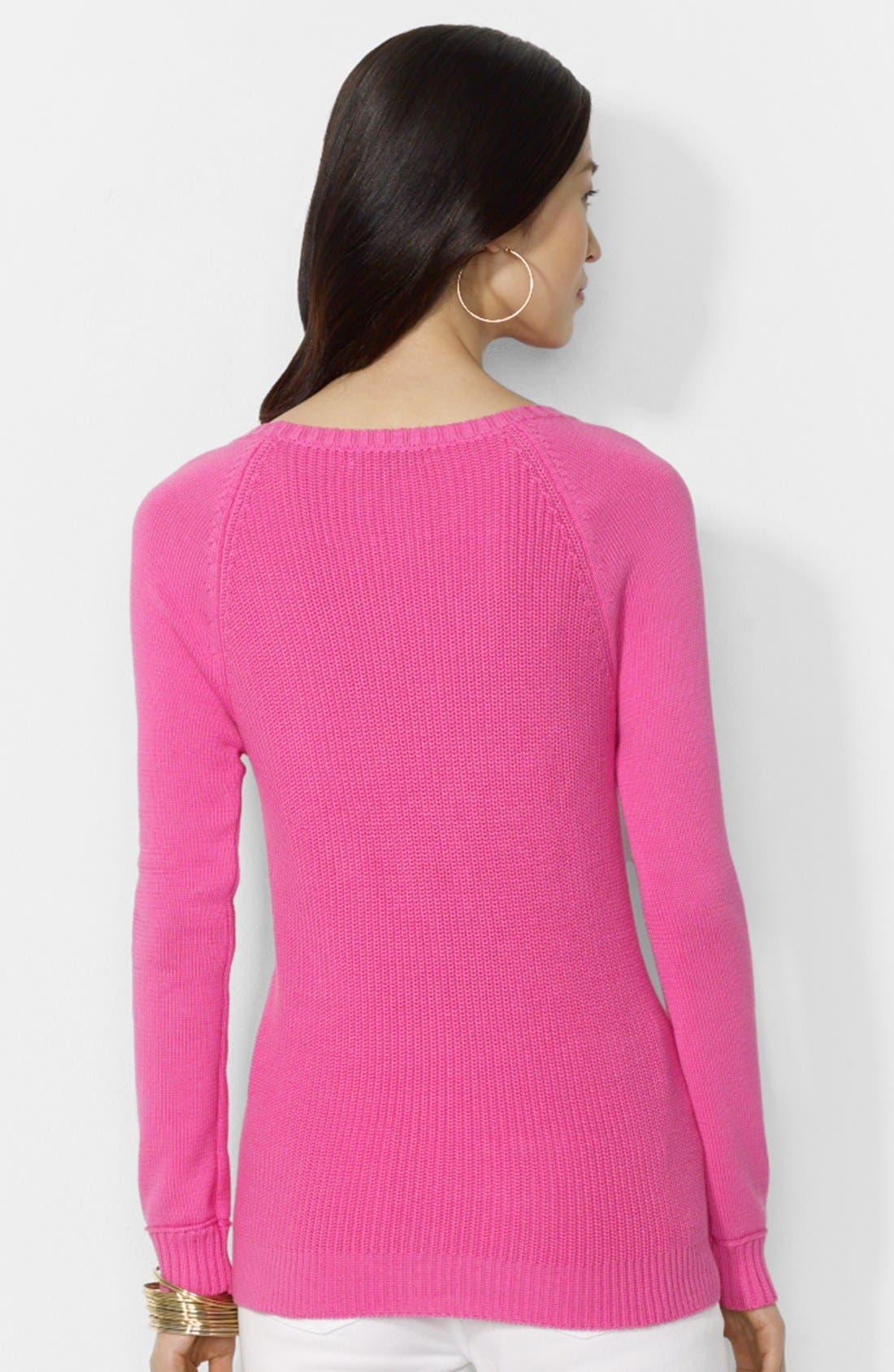 Alternate Image 2  - Lauren Ralph Lauren Zip Detail Raglan Sleeve Sweater