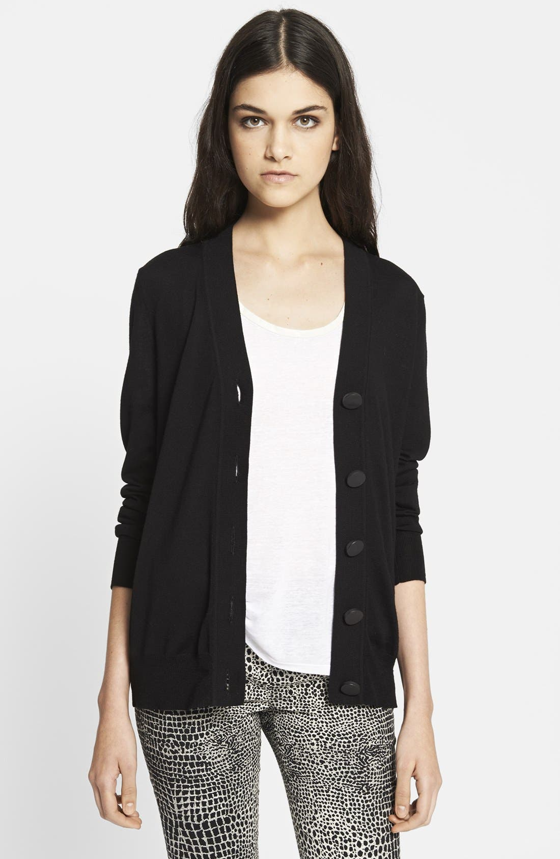 Main Image - The Kooples Leather Detail Merino Wool Cardigan
