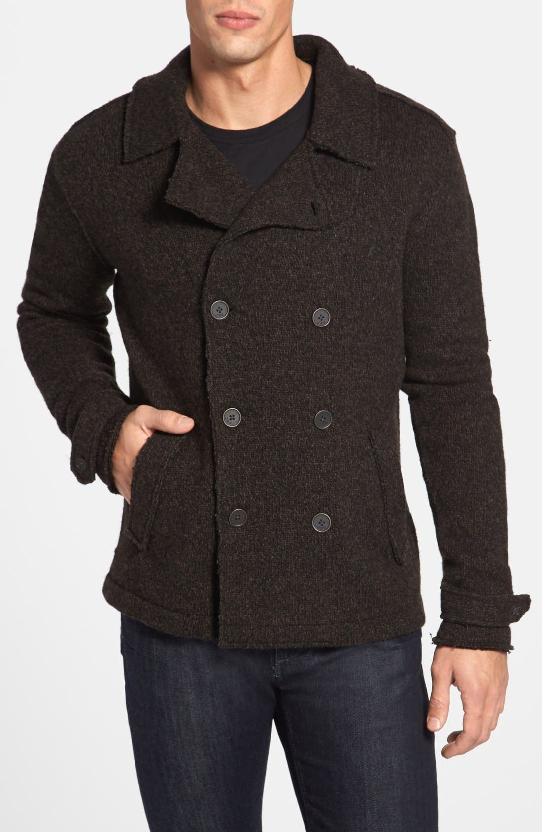 Main Image - John Varvatos Star USA Raw Edge Sweater Peacoat