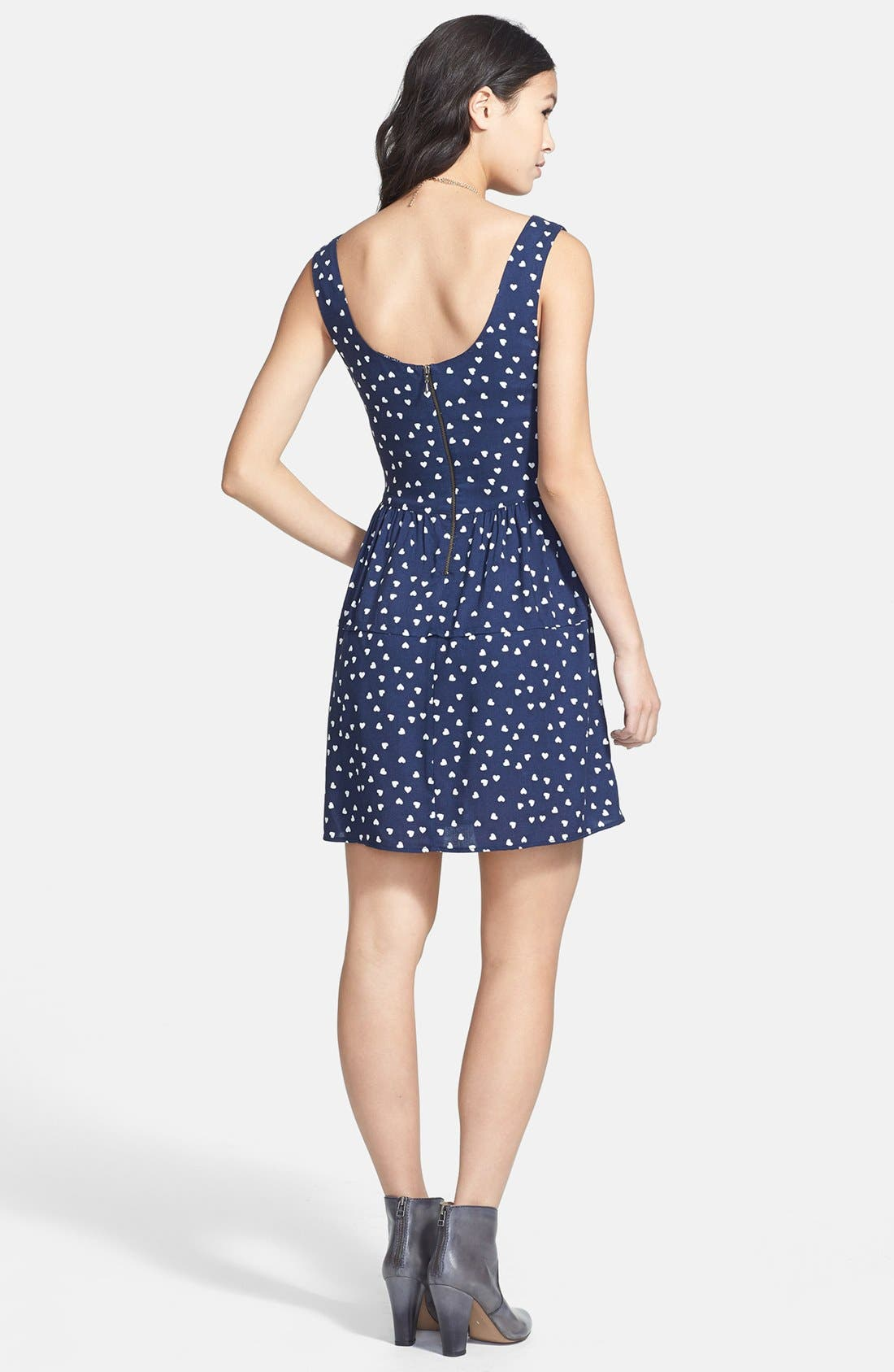 Alternate Image 2  - BeBop Heart Print Fit & Flare Dress (Juniors)
