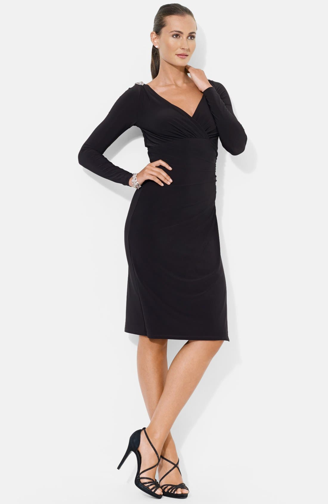 Alternate Image 4  - Lauren Ralph Lauren Embellished Shoulder Jersey Dress