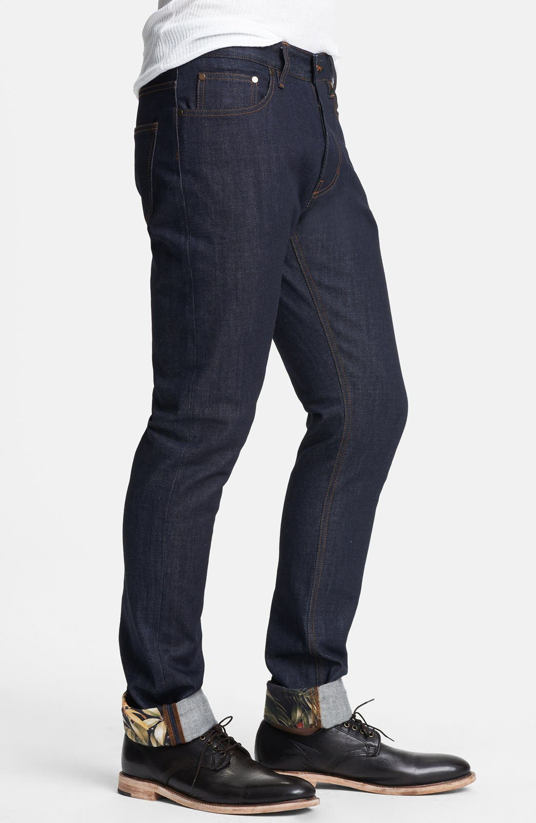 Alternate Image 3  - AMI Alexandre Mattiussi Straight Leg Raw Selvedge Jeans with Floral Cuff Trim (Indigo)