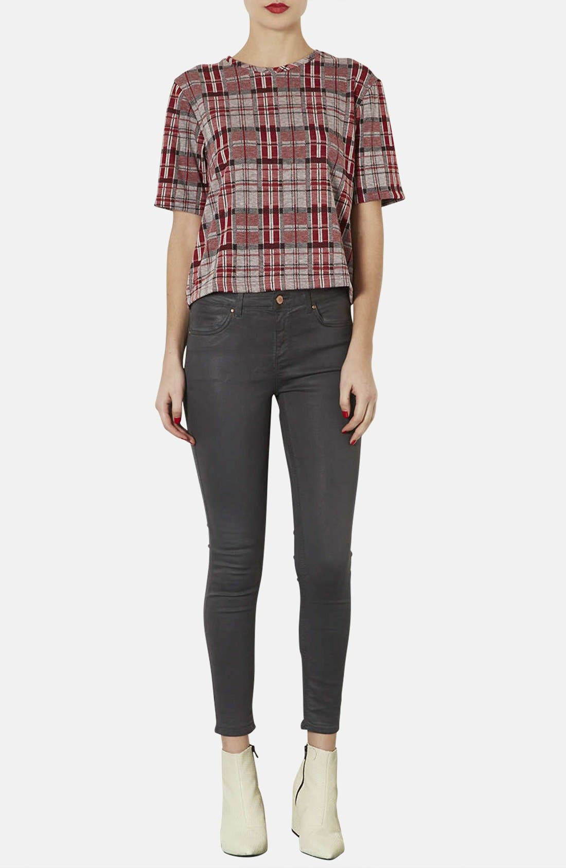 Alternate Image 4  - Topshop Checkered Jacquard Tee