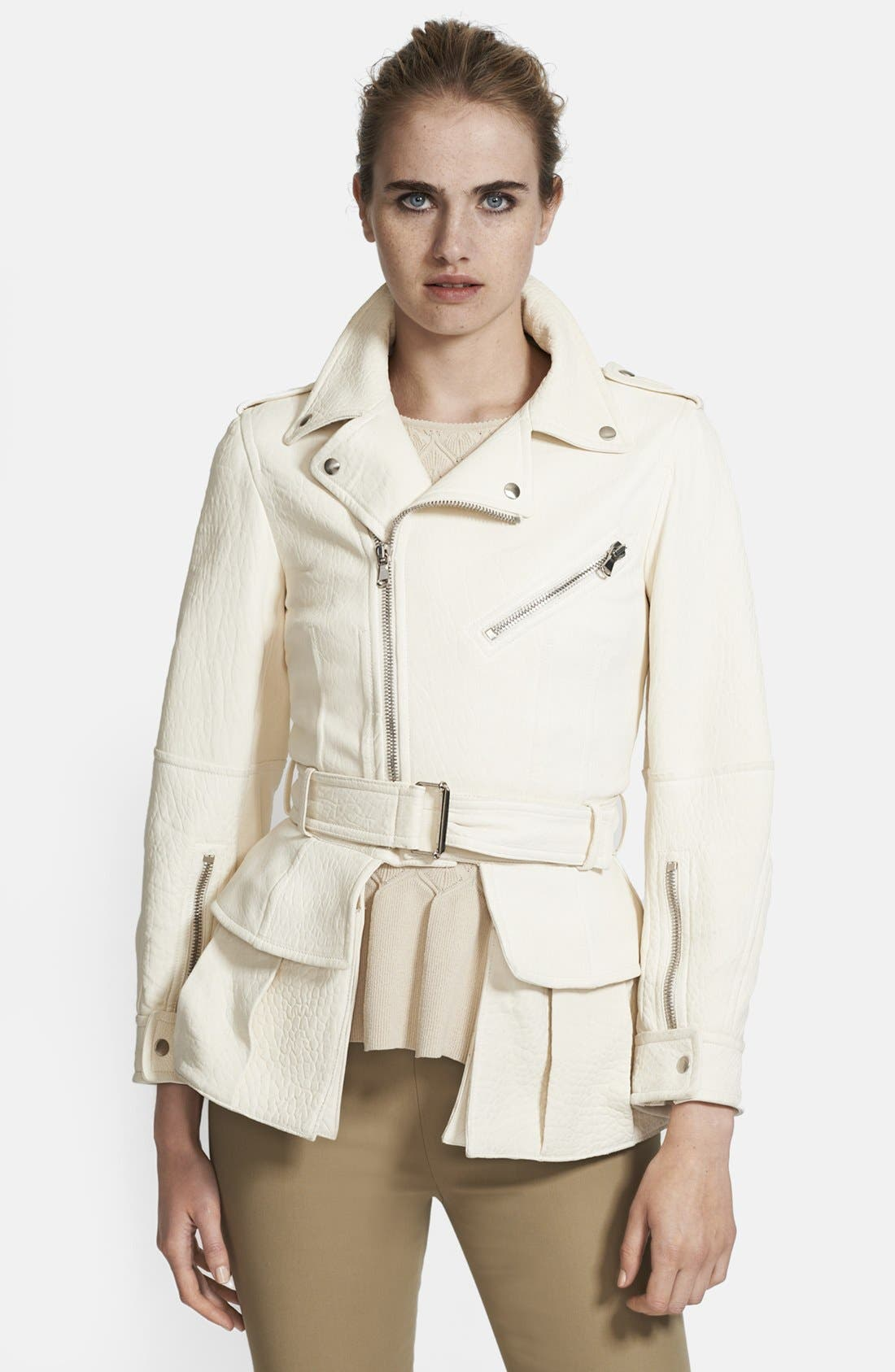 Alternate Image 3  - Alexander McQueen Belted & Ruffled Leather Jacket