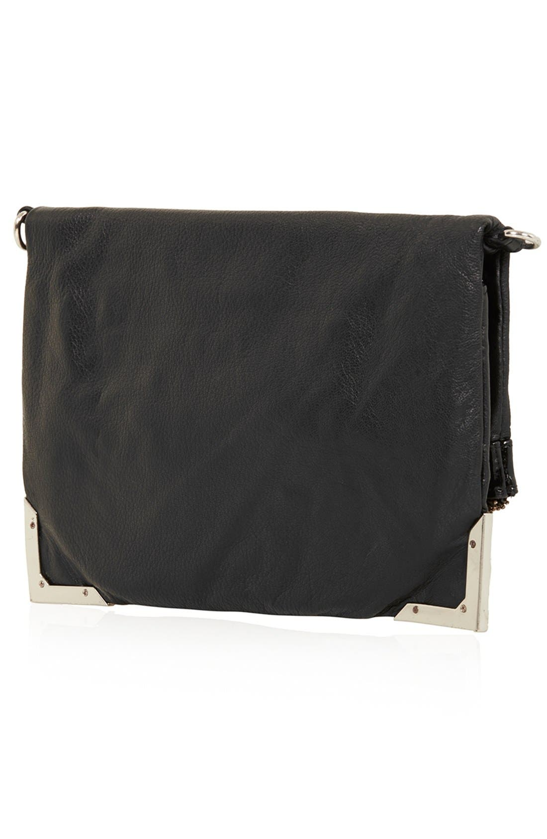 Alternate Image 4  - Topshop Metal Corner Leather Crossbody Bag