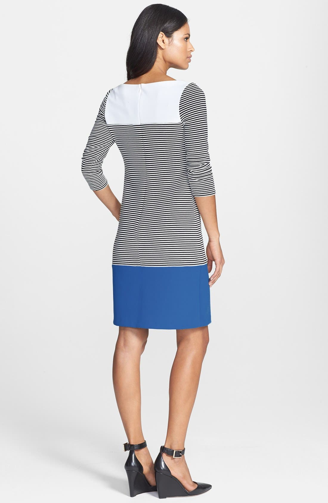 Alternate Image 3  - Isaac Mizrahi New York Colorblock Stripe Stretch Jersey Shift Dress