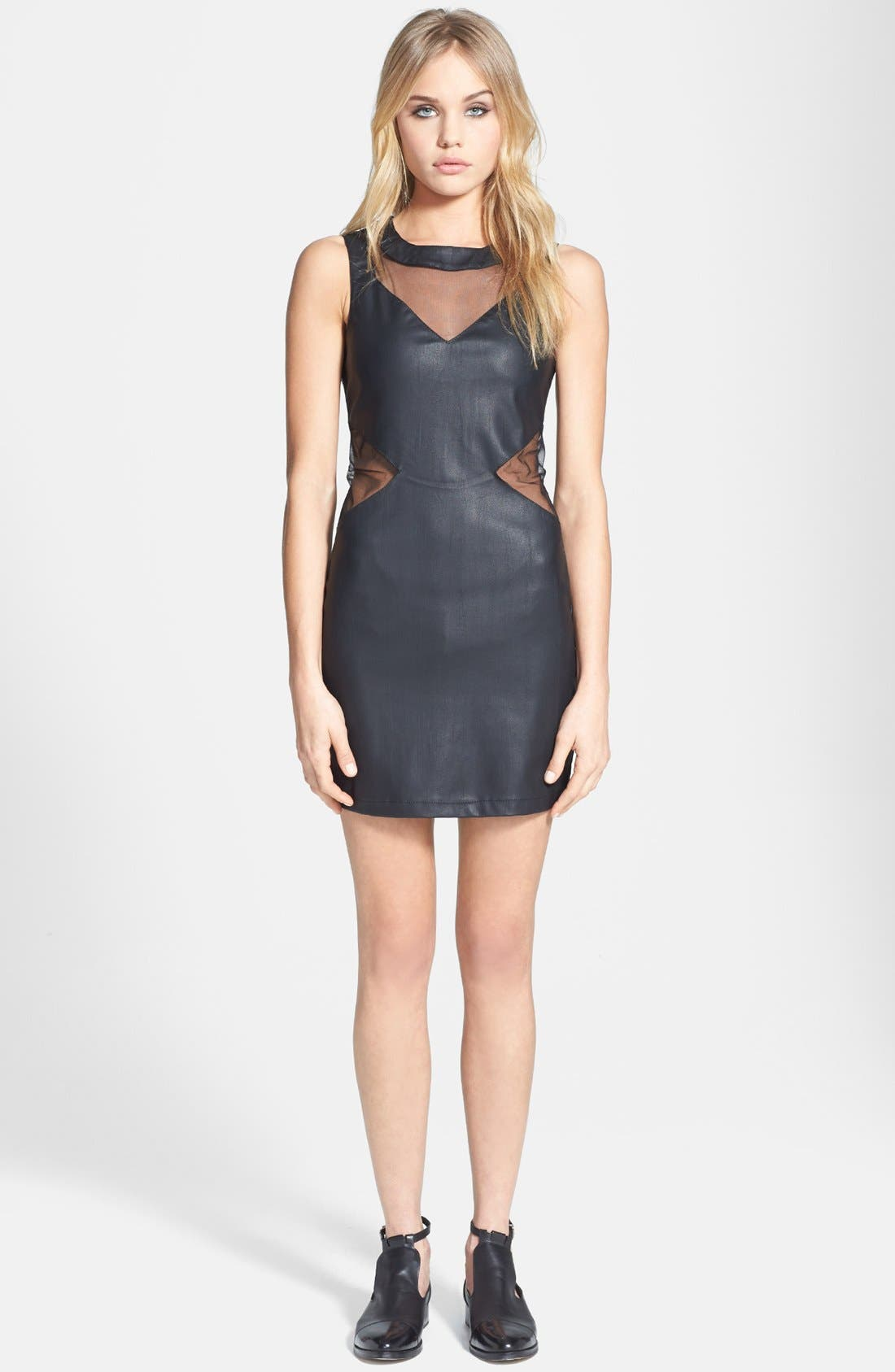 Main Image - Topshop 'Rita' Mesh Inset Faux Leather Body-Con Dress