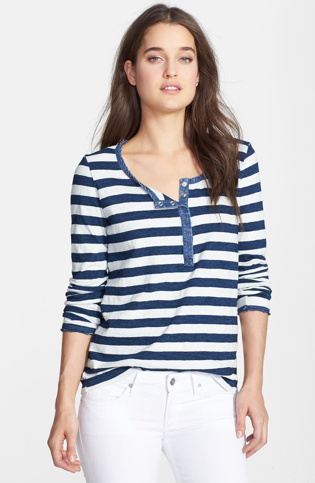 Alternate Image 1 Selected - Splendid Stripe Snap Button Cotton Henley Tee