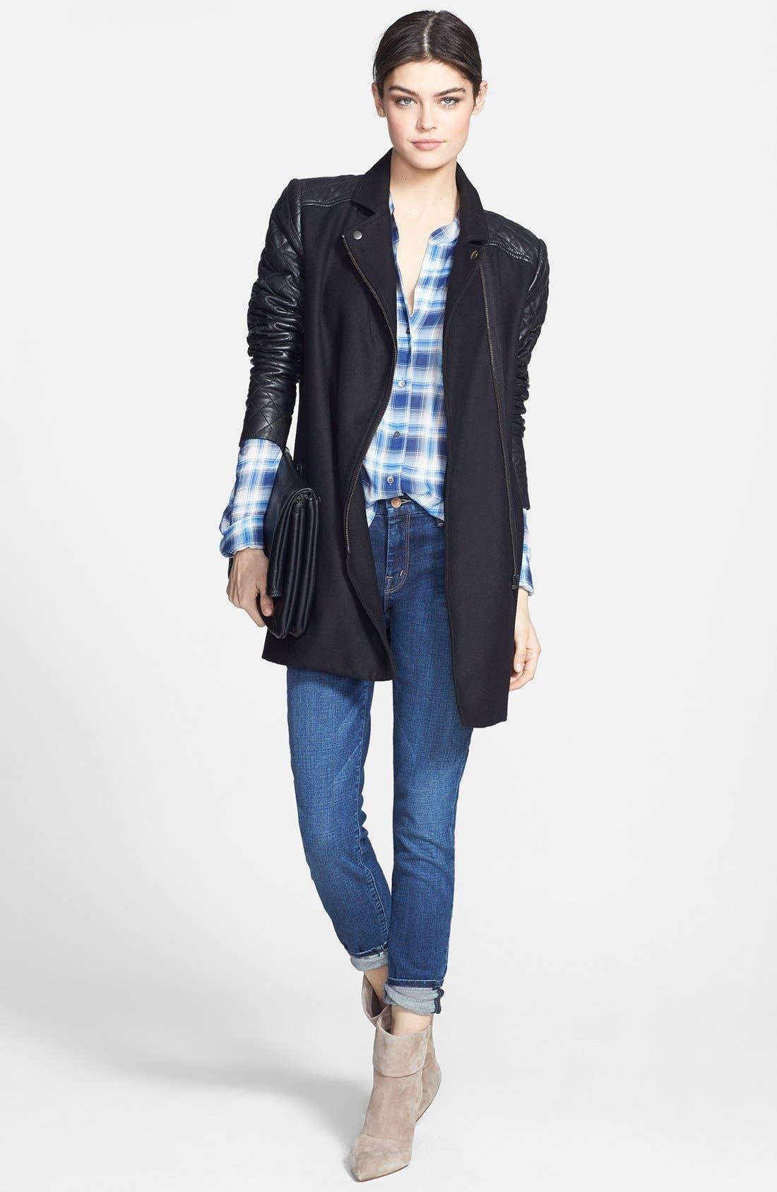 Alternate Image 4  - Trouvé Leather Sleeve Wool Jacket