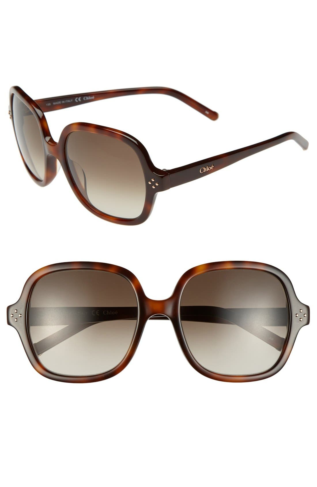 Main Image - Chloé 'Boxwood' 55mm Sunglasses