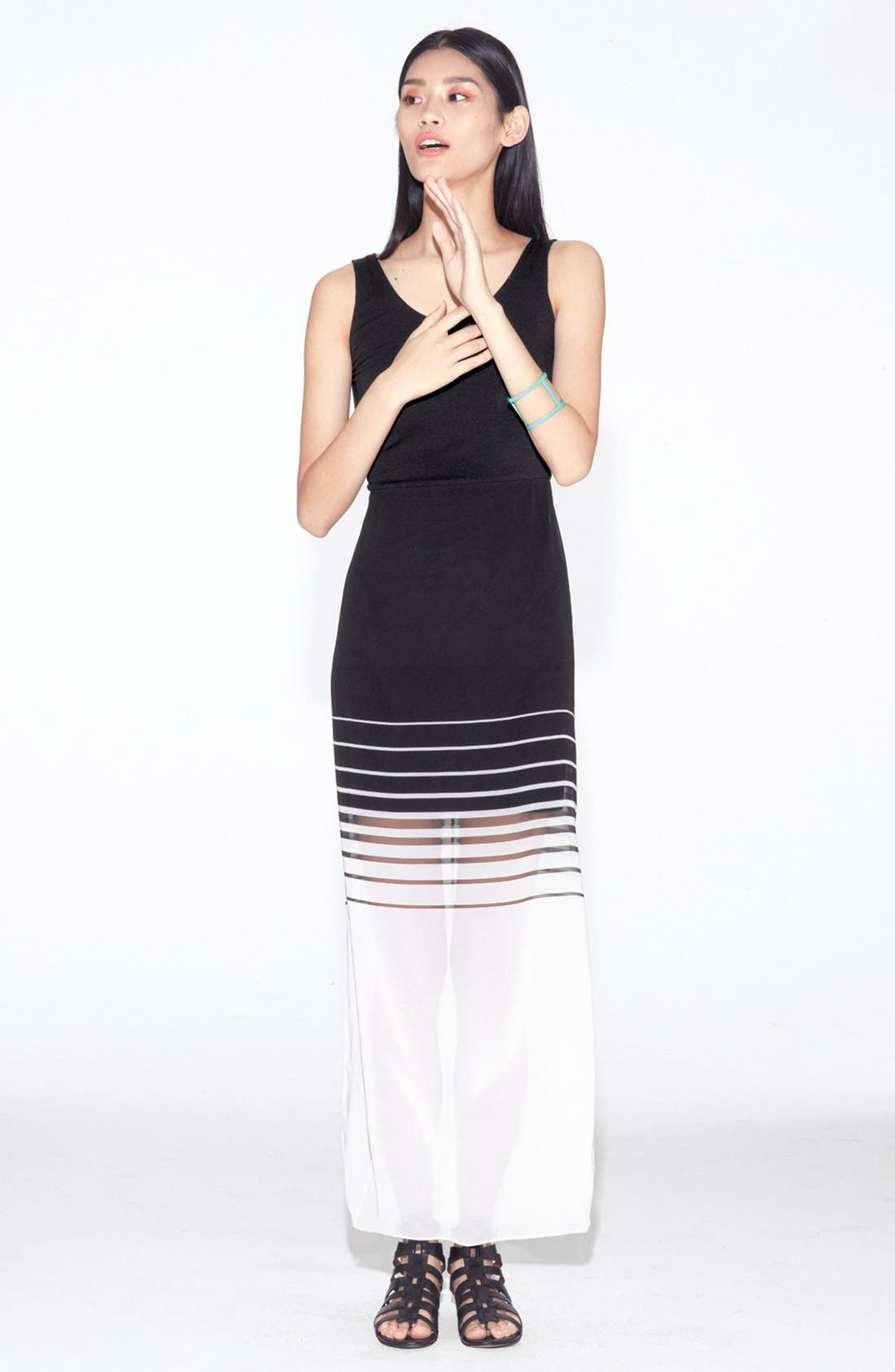 Alternate Image 4  - Vince Camuto Mixed Media Maxi Dress (Regular & Petite)