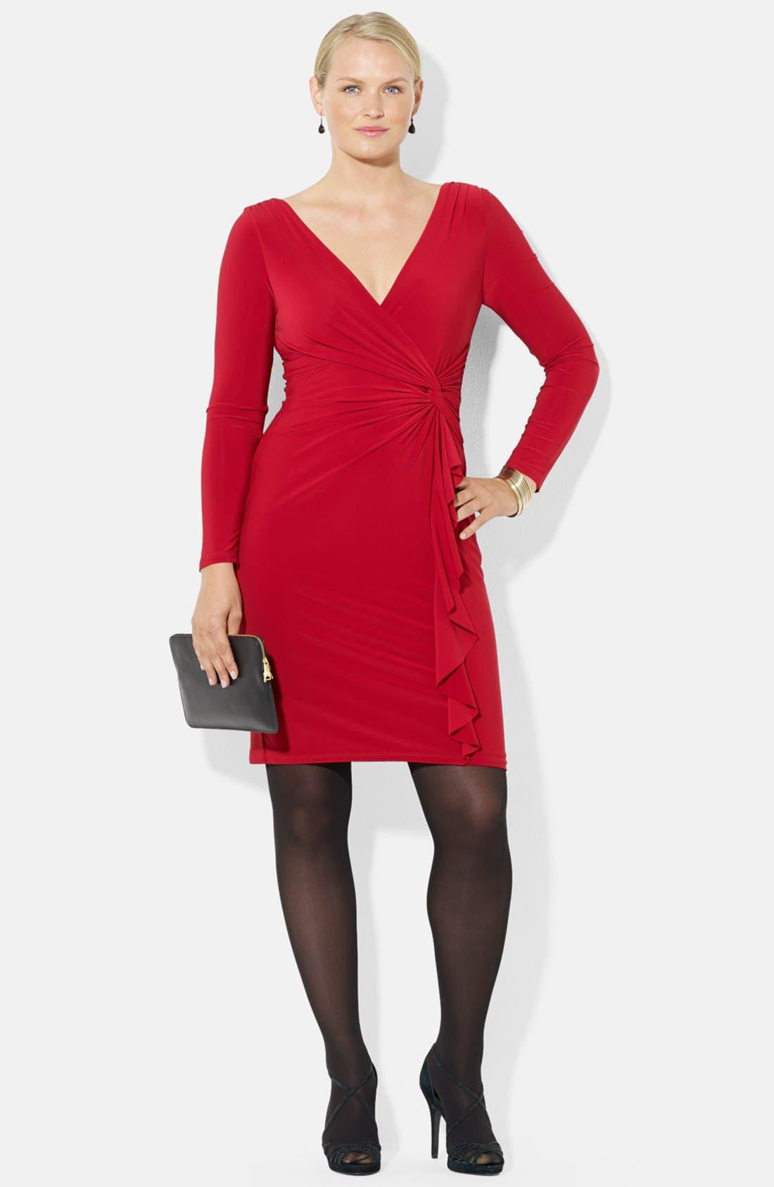 Main Image - Lauren Ralph Lauren Side Ruffle Jersey Dress (Plus Size)