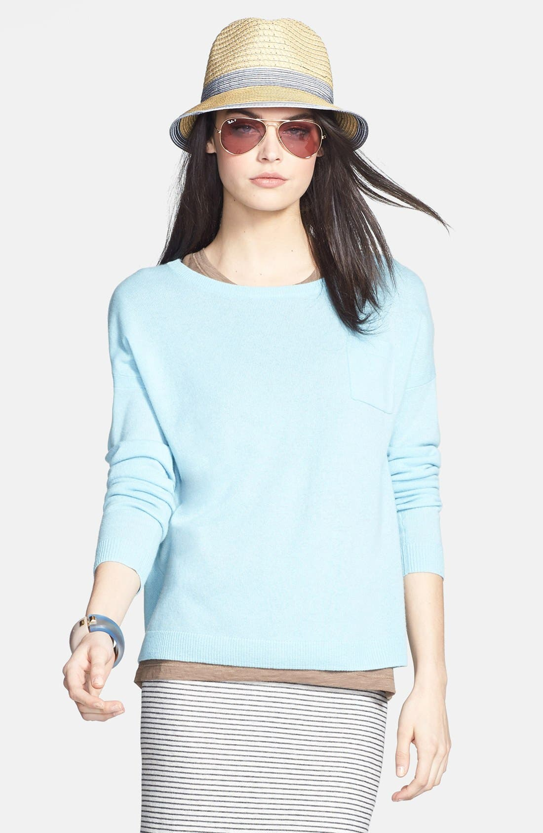 Alternate Image 5  - Halogen® Lightweight Cashmere Crewneck Sweater with Pocket