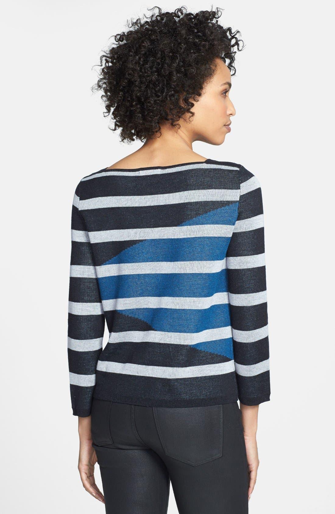 Alternate Image 2  - Adrianna Papell Intarsia Stripe Boatneck Sweater